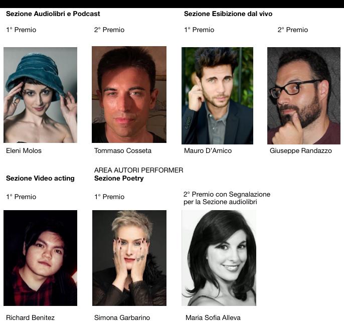 I vincitori di ActorsPoetryFestival 8th: Eleni Molos, Tommaso Cosseta, Mauro D'Amico, Giuseppe Randazzo, Richard Benitez, Simona Garbarino, Maria Sofia Alleva